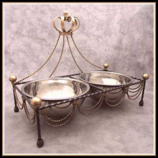 Wrought Iron Dog Cat Feeder Bowl Stand Regal Royal Gold Crown Top