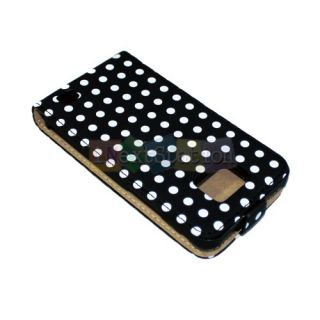 Black Polka Dot Leather Flip Case Cover Pouch for Samsung Galaxy II S2