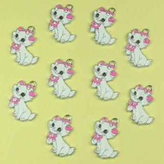 Lot 10pcs Disney Rhinestone Marie Cat Metal Charm Pendants Girl Craft