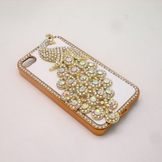 Rhinestone Crystal White Leather Hard Case Skin Cover Peacock iPhone