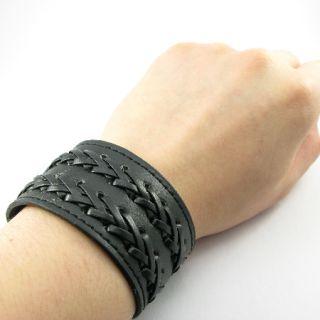 H990 Punk 2 Woven Rock Black Leather Men Women Double Button Wristband