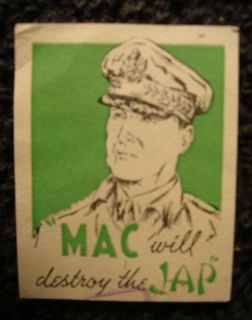 Douglas MacArthur Poster Stamp Military Home Front Anti Axis Japanese