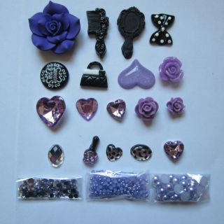 Dark Purple Anna Sui DIY Deco Kit for Cell Phone iPhone 4G 4S 5 Case