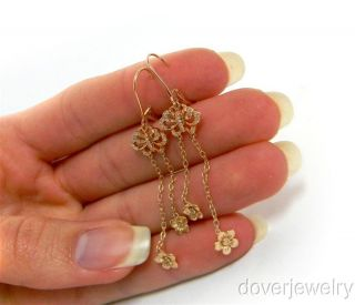 Estate Diamond 14K Rose Gold Butterfly Long Drop Earrings NR
