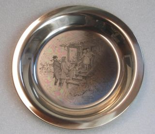 1975 FRANKLIN MINT CHRISTMAS STERLING SILVER PLATE 5.7 TROY OZ *FREE