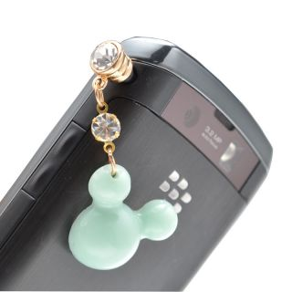 Mouse Head Crystal 3 5mm Anti Dust Ear Cap charm For iPhone 4 4S strap