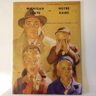Michigan St vs Notre Dame Football Program Frank Leahy, Lynn Chandnois