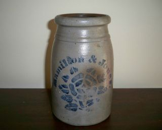 Antique Hamilton Jones Cobalt Blue Rose Design Wax Sealer Crock 8 19th