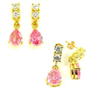 LADY PEAR CUT PINK SAPPHIRE YELLOW GOLD PLATED DROP STUD EARRING