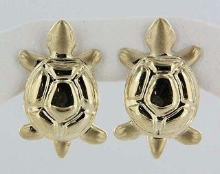 Estate 14k Yellow Gold Turtle Post Earrings Fine Jewelry