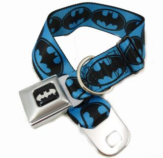 Batman Blue Logo Seat Belt Buckle Dog Collars or Leash 4 Sizes Buckle
