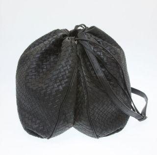 BOTTEGA VENETA Black Leather Drawstring Messenger Bag