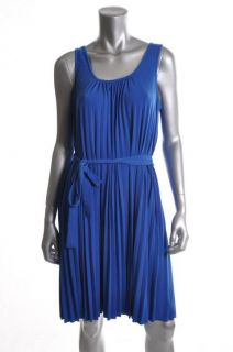 Donna Morgan New Blue Pleated Scoop Neck Sleeveless Casual Dress 10