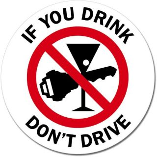 DonT Drink and Drive Round Sign Wall Window Car Vinyl Sticker Decal