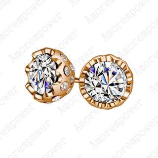 Gold Plated Ear Pin Use Swarovski Crystal Unique Studs Earring