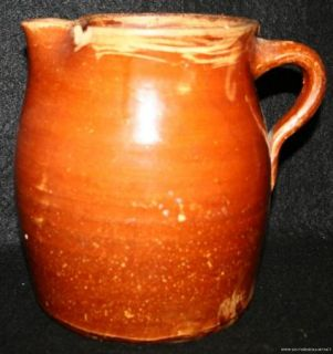 Antique Brown Folk Art Pottery Jug Cream Riser Pitcher Possibly