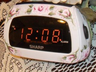 Victorian Cottage Chic Hand Painted Pink Rose Sharp Alarm Clock New