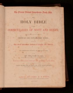 Pictorial National Comprehensive Family Holy Bible Scott And Henry