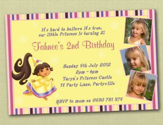 personalised princess dora birthday invitations
