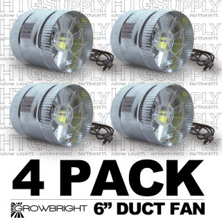 inch Inline Duct Fan Exaust Booster Blower Case of 4 250 CFM Air