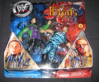Matt Hardy Bubba Ray Dudley Signed WWE Ringside Rivals Figurines
