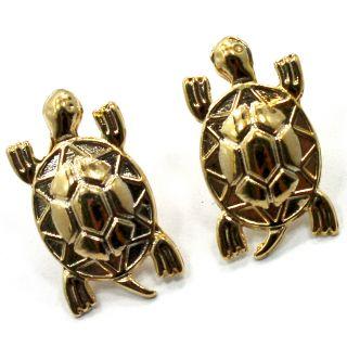 Gold 18K GF Earrings Funny Lucky Turtle Earrings Push Back Stud Lady
