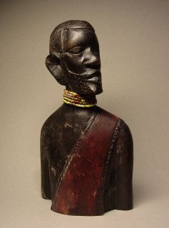 AFRICAN TRIBAL ELDER MAKONDE HAND CARVED EBONY WOOD. Circa 1900s