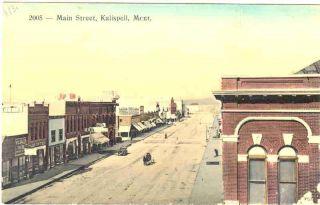 MONTANA Kalispell Main Street c 1910 h c POSTCARD