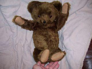 EARLY 1900S CHOCOLATE /CINNAMON VINTAGE MOHAIR TEDDY BEAR, BROKEN