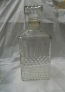 French Cut Crystal Square Decanter Wine Carafe Vintage with Top