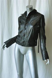 Henry Duarte Jeans Black Cargo Leather Jacket Coat S