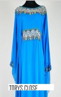 DUBAI VERY FANCY KAFTANS abaya jalabiya blue
