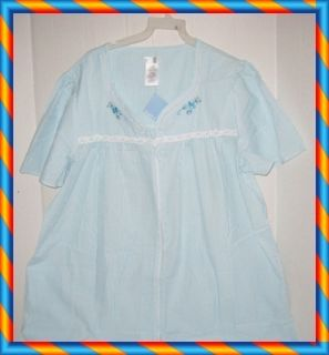 NWT LADIES SIMPLY BASIC BLUE FRONT ZIPPER DUSTER ROBE XL (16/18)