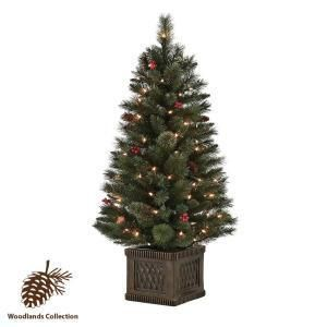 Martha Stewart 4 ft. Pre Lit Worcester Potted Tree Berries Pine cones