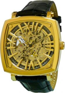 THIS IS A BRAND NEW AUTHENTIC ADEE KAYE MENS GOLDTONE SKELETON DIAL