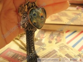 Retro Style Peacock Heart Key Tassel Crown Pendant Long Chain Necklace