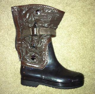 EDDIE MARC KIDS Brown Fashion Rain/Winter Boots Childrens SZ 10 See