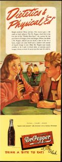 1946 Print Ad Drink DR PEPPER Dietetics & Physical Ed Drink a bite to