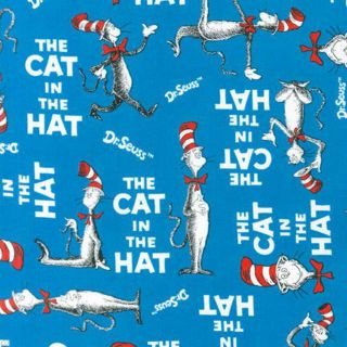 FQ Dr Seuss The Cat in the Hat Words on Blue Fat Quarter Robert