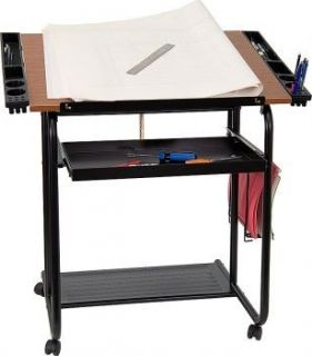 Flash Furniture Adjustable Drawing and Drafting Table with Black Frame