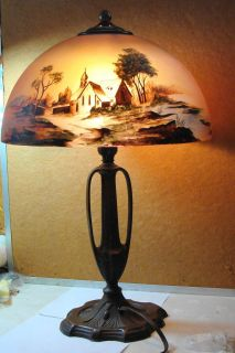 Pittsburgh Obverse Painted Lamp Lake Church Woods Stream Nice