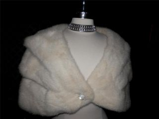 Vtg Mink Real Fur White Wedding Bolero Shrug Cape Jacket Stole