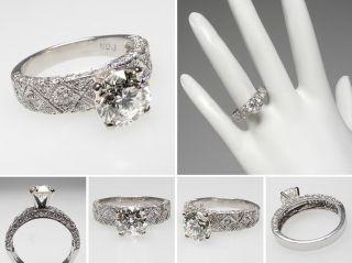 Eco Friendly Estate Genuine Diamond Engagement Ring Solid Platinum