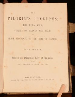 C1840 Bunyan Pilgrims Progress Holy War Visions Heaven Hell Cheever