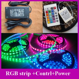 RGB Flex LED Strip Rope Light Waterproof SMD 5050 5M Controller Power