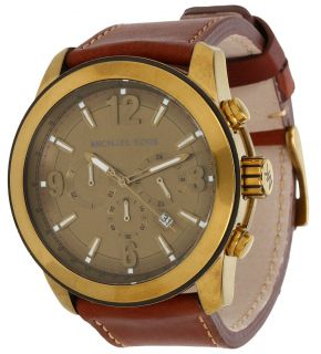 New Michael Kors Brown Leather Band Chronograph Men s Latest Watch