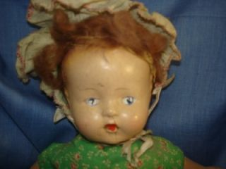 Adorable Antique Composition Cloth Doll Vintage Toy