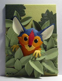 Creature Original ACEO Small Paper Sculpture by Matthew Ross