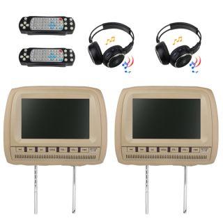 Car Pillow Headrest DVD Player 2 Wireless Headphones
