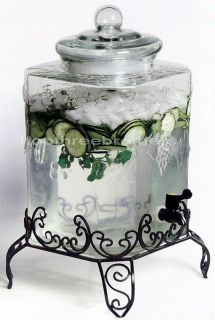 Gallon Grape Texture Glass Beverage Dispenser Metal Stand Drink Holder
